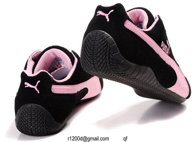 basket puma noir et rose